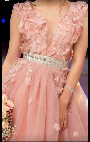Изысканное вечернее выпускное пудровое пудра Zara платье 3d Asos