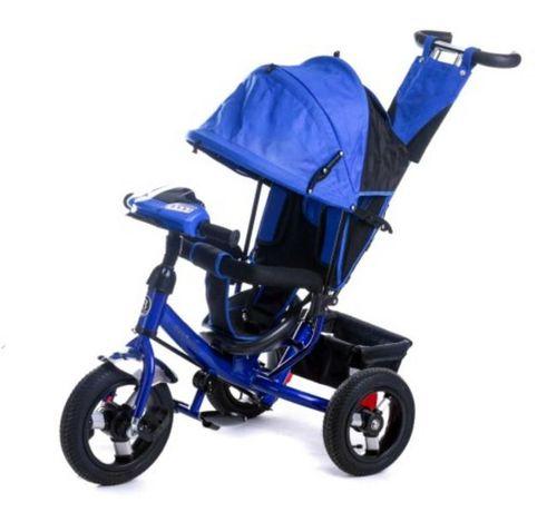 Детский трёхколёсный велосипед надувные резиновые колёса, Фара, Музыка