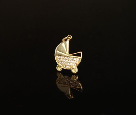 Złoto 585 - złota zawieszka damska Wózek