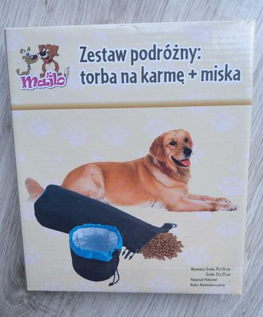 Zestaw podróżny dla psa torba na karmę + miska