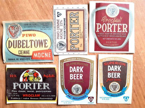 6 starych etykiet mocnych piw z Browaru Piastowskiego