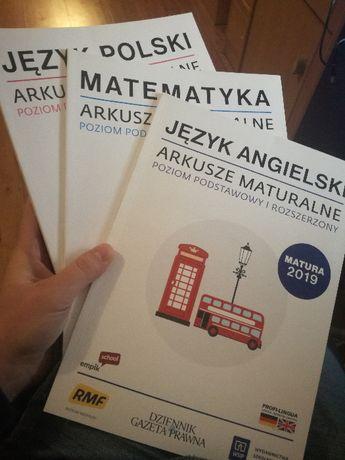 Arkusze maturalne, język angielski, język polski, matematyka