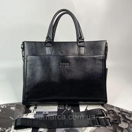 Мужской кожаный деловой портфель сумка Hugo Boss Хьго Босс чоловічий