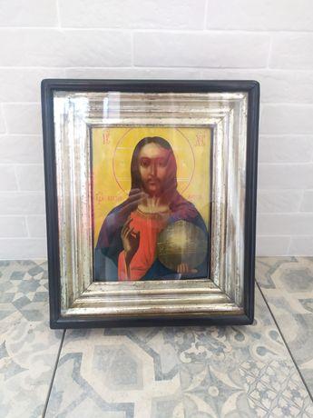 Большая старинная антикварная икона Спаситель спаси Иисус Господь киот