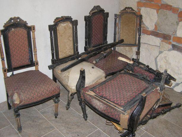 stylowe 4 krzesła i 2 fotele do renowacji, jadalnia