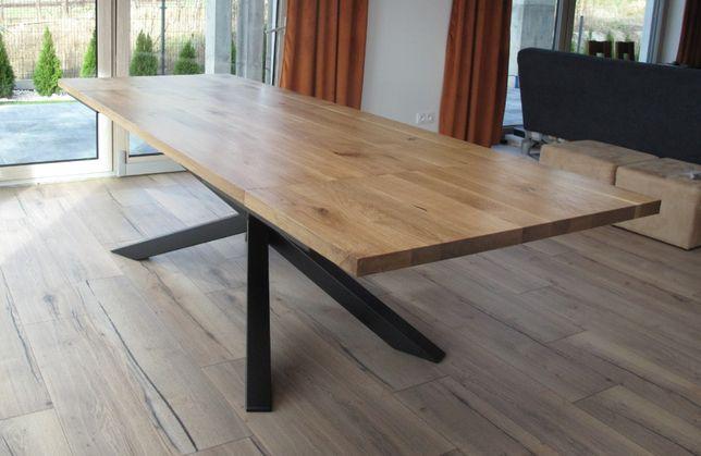Stół dębowy rozkładany loft 90x160-240 pająk dostawa i montaż w cenie