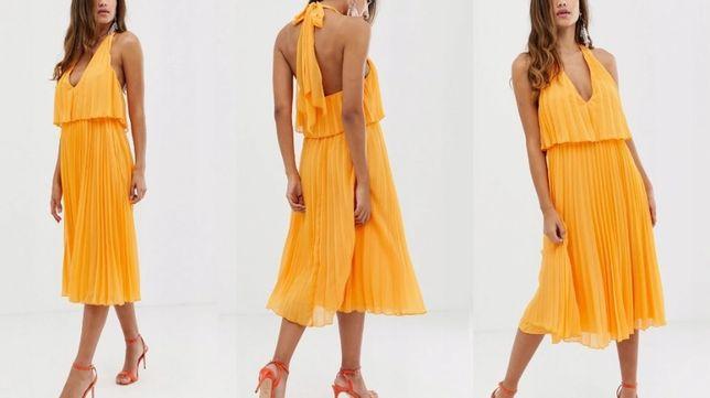 NOWA sukienka 42 40 plisowana midi rozkloszowana wesele chrzciny XL L