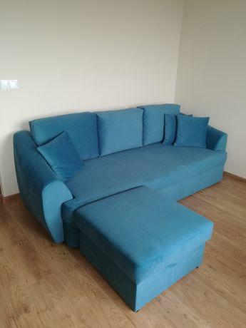 Duża sofa z funkcją spania, narożnik, pufa
