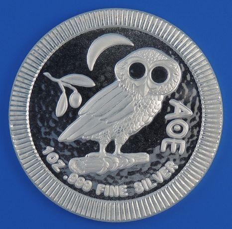 Moedas 1 Onça Prata Pura 999 Niue Mocho de Atenas 2019-Dólar NZelandia