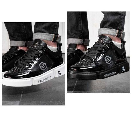 Мужские черные кожаные кроссовки Philipp Plein кросівки филипп плейн
