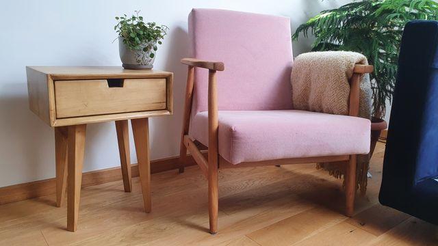 Szafka nocna stolik pomocniczy kawowy szuflada drewniany