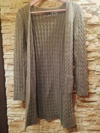 Nowy śliczny kardigan ciepły jak alpaka sweter jesień S M L XL brąz