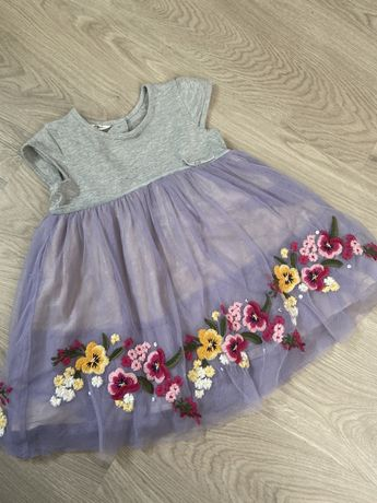 Шикарное детское платье с вышивкой и стразами 12-18 мес  Monsoon