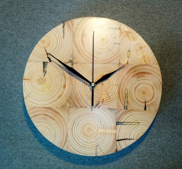 Zegar ścienny z drewna naturalnego HANDMADE Bojszowy Nowe - image 1