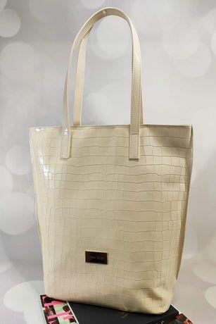 Mega torba shopper bag ecru Laura Biaggi