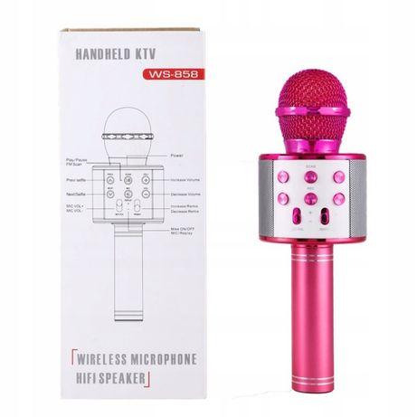 Mikrofon bezprzewodowy różowy niebieski KARAOKE BLUETOOTH głośnik