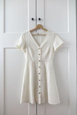 Lniana biała sukienka na guziki Asos Vero Moda 34 XS