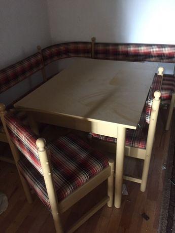 Narożnik kuchenny PRL stół i dwa krzesła