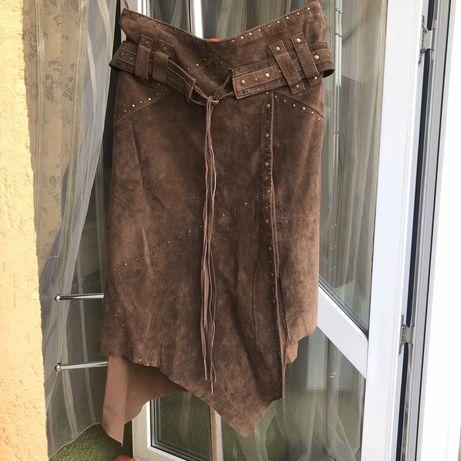 Кожаная юбка Франция оригинал натуральная кожа