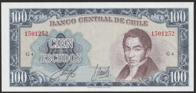 banknot Chile 100 escudos 1960 - - stan bankowy UNC