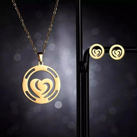 Przepiękny Złoty Komplet Biżuterii Naszyjnik + Kolczyki