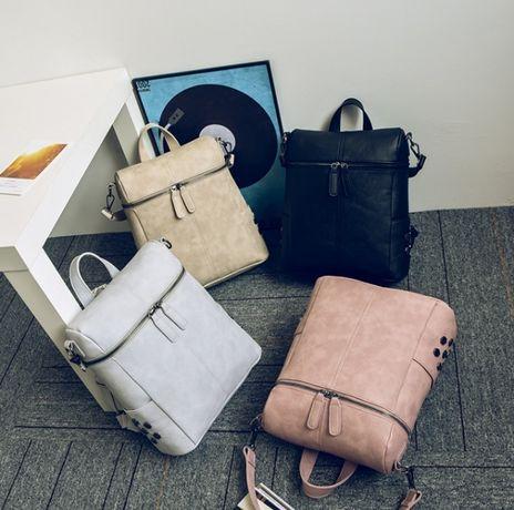 Женский рюкзак сумочка трансформер 2 в 1 сумка рюкзачок розовый черный