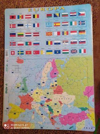 Puzzle edukacyjne duże, 4 rodzaje, Europa (flagi), Europa, Świat Polit