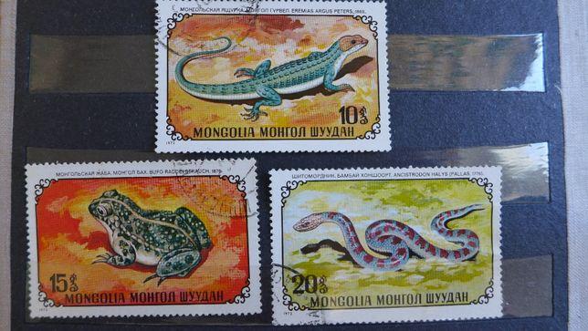 FILATELISTYKA stare znaczki pocztowe PRL 3 szt grafika MONGOLIA fauna
