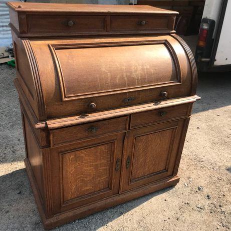 Piękne biurko sekretarzyk drewniane dębowe lite drewno antyk DOWÓZ