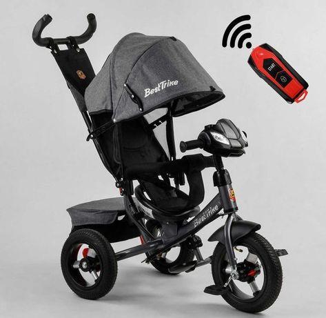 Детский трёхколёсный велосипед коляска, надувные колеса ФараUSB ровер,