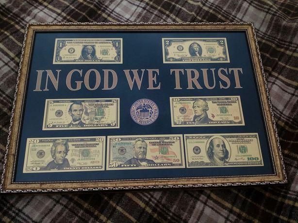 Продам золотые доллары в рамке