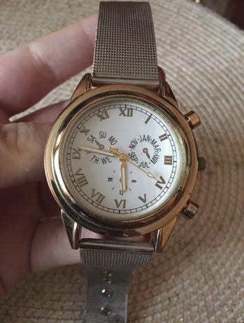 Zegarek damski złoty/srebrny bransoletka biała tarcza