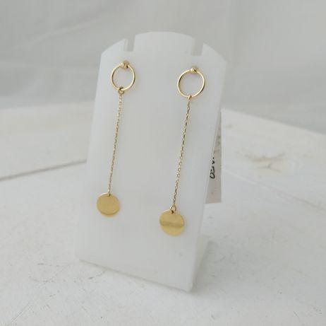Złote wiszące kolczyki z kółeczkami, złoto 585
