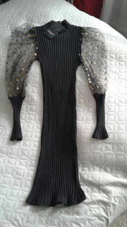 Sukienka,nowa z metką. Rozmiar xs/s. Czarna w prążek ,bufiaste rękawy