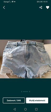 Spodenki szorty jeansowe dziury koronką ML