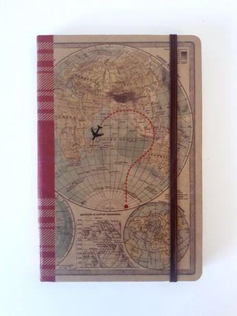 Travel Journal / Diário Viagens / Notebook / Capa com mapa mundo
