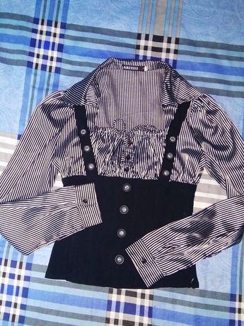 Блуза шелковая с корсетом