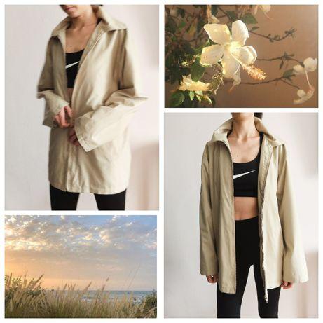 Объемный Плащ Ветровка удлиненный дождевик жакет куртка пиджак Бежевый