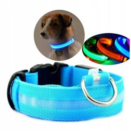 Świecąca obroża dla Psa,LED roz.M , Niebieska . Bateria ,NOWA !!