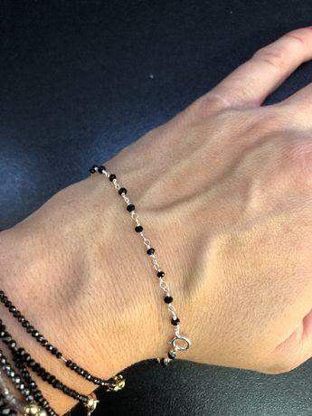Bransoletka srebrna (925), spinel, łańcuszek, kamień naturalny czarny