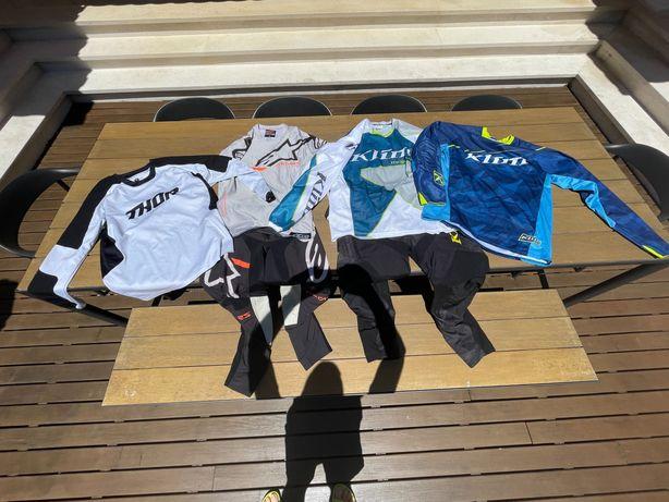 Equipamentos de motocross / enduro Klim, Alpinestars e Thor.