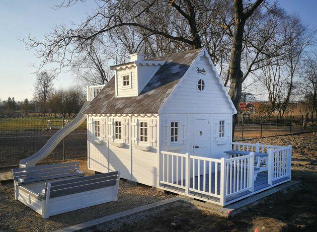 Domek ogrodowy dla dzieci, drewniany plac zabaw - Naukowiec Dżepetto!