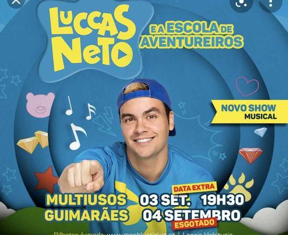2 Bilhetes Luccas Neto PLATEIA VIP dia 4/09 às 17h