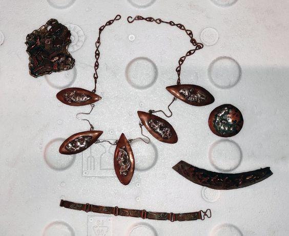 Komplet biżuterii wykonany ręcznie z miedzi i srebra