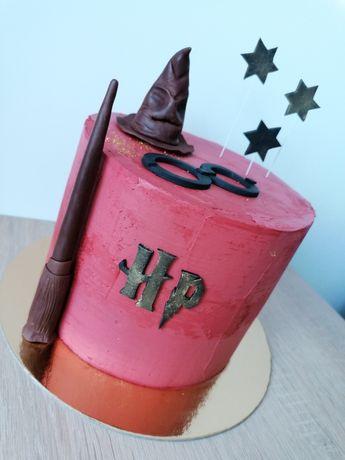 Harry Potter różdżka tiara dekoracje na tort figurka z masy cukrowej