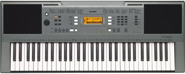 Yamaha PSR e-353;teclado;fonte de alimentação;porta partituras;caixa