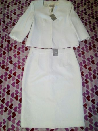 Костюм пиджак и юбка,белый,Новый