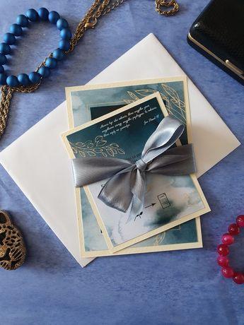 Zaproszenia ślubne na ślub akwarela zieleń niebieski