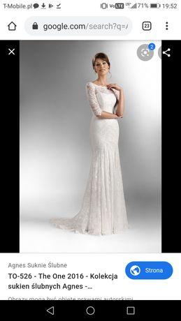 Suknia ślubna Agnes Fashion TO 526 biała koronka tren 38 36 40