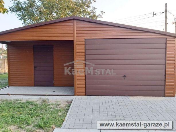 Garaż blaszany 6x5,8 drewnopodobny złoty dąb- garaże blaszane, blaszak